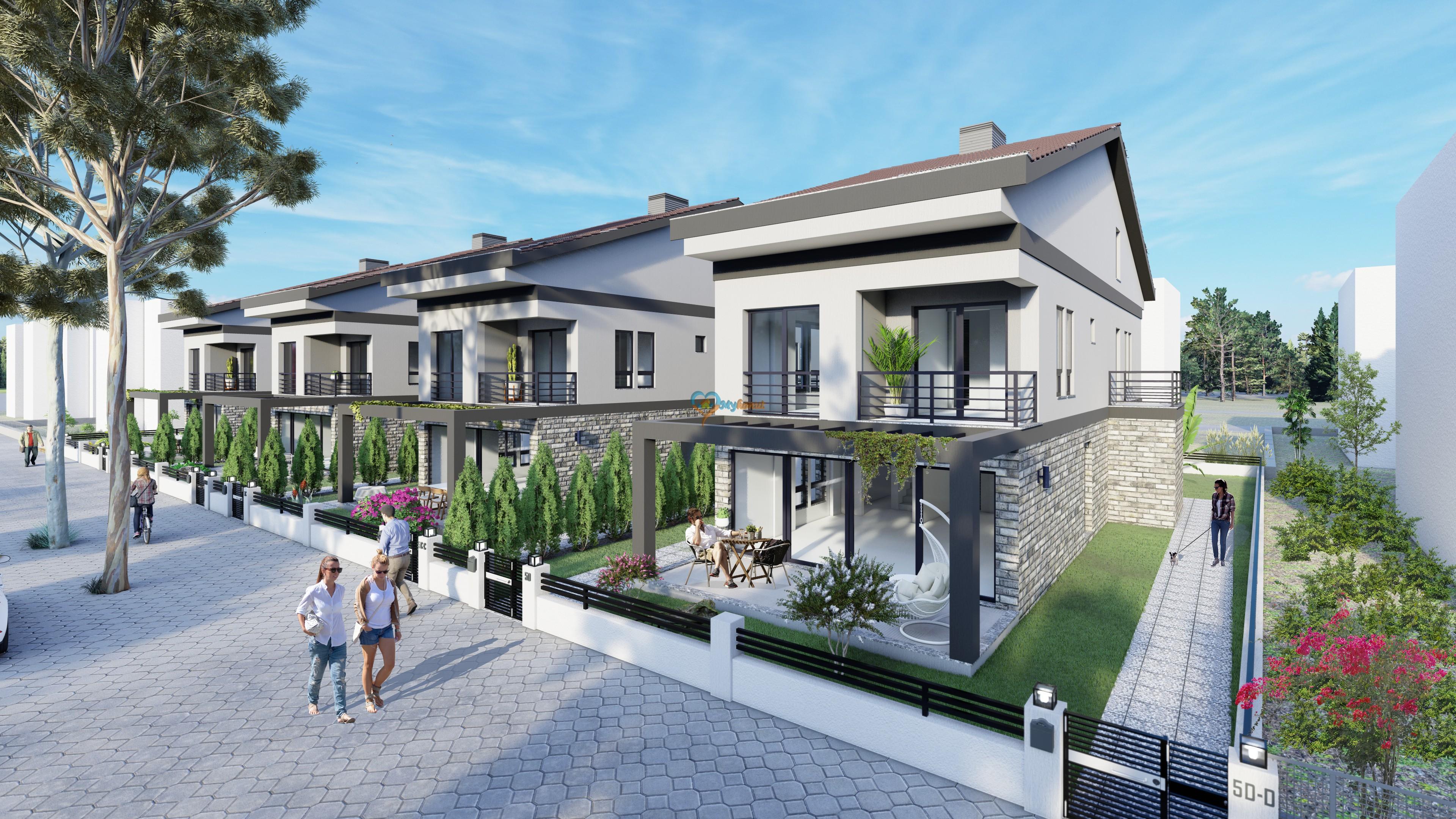 Foça Mahallesinde Çalış Plajına 1km Yakınlıkta  3+1 Tripleks Villalar